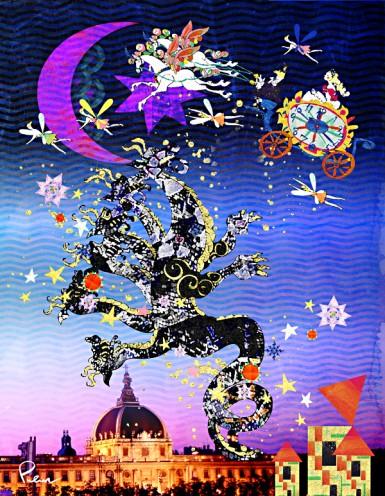 風景写真+メルヘン、テーマ:例「龍と集う姫」