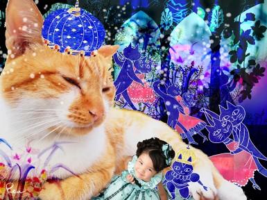 動物写真+人物写真+メルヘン、テーマ:例「ネコの舞踏会」