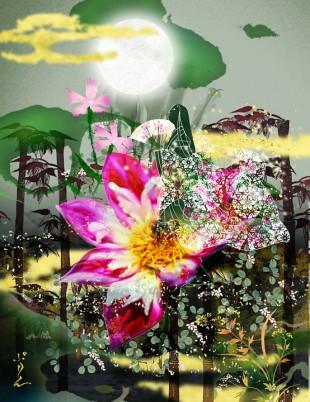 花写真+メルヘン、テーマ:例「かぐや姫」